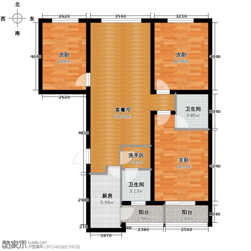 天水丽城119.19㎡二期户型3室1厅2卫1厨