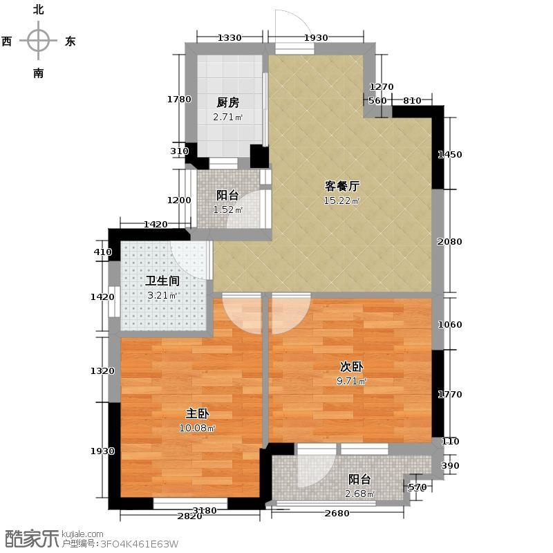 武汉1818中心72.48㎡B1-3户型2室1厅1卫1厨