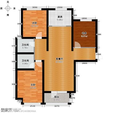 肯彤国际3室2厅2卫0厨128.00㎡户型图