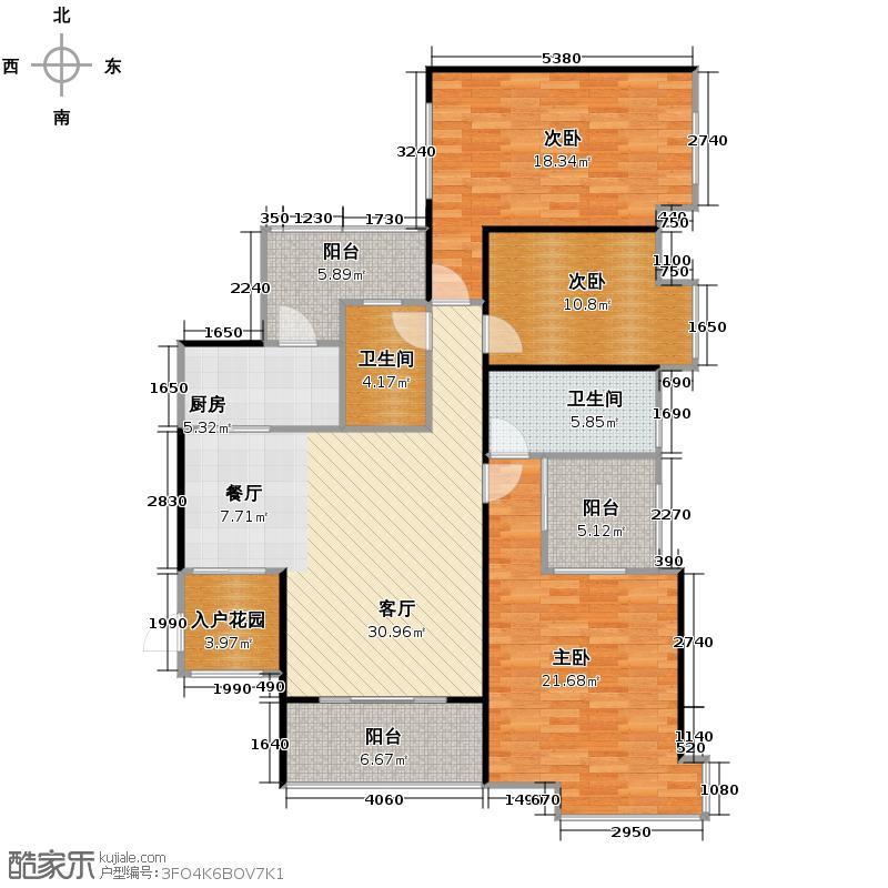 碧桂园城市花园139.11㎡北区4座04单位户型3室1厅2卫1厨