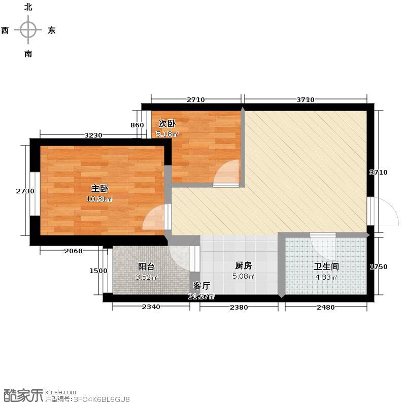 领域佳境67.89㎡6号楼和7号楼B户型1室1厅1卫