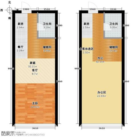 城市中坚1室1厅1卫0厨70.99㎡户型图