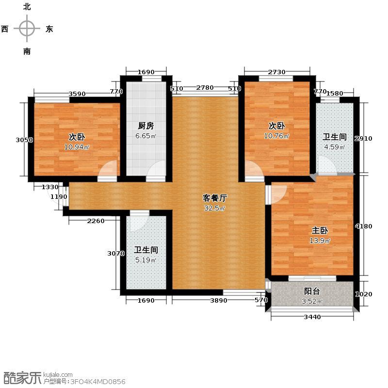 天朗大兴郡二期瀚苑118.00㎡C户型3室1厅2卫1厨