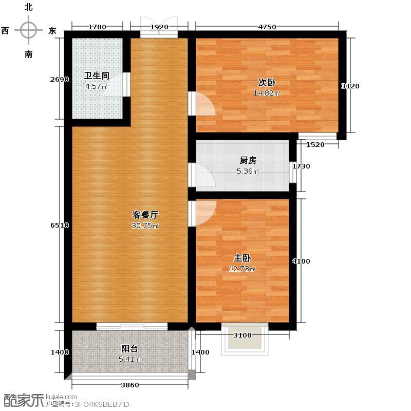 天滋嘉鲤98.14㎡户型2室1厅1卫1厨