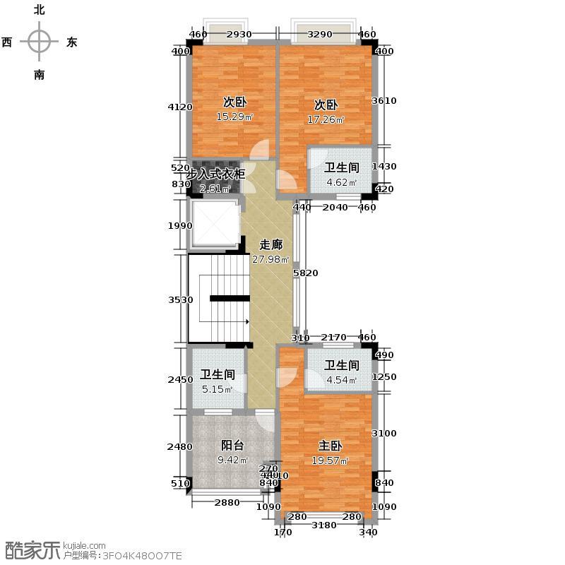 广州星河丹堤120.26㎡依山联排三层户型3室3卫