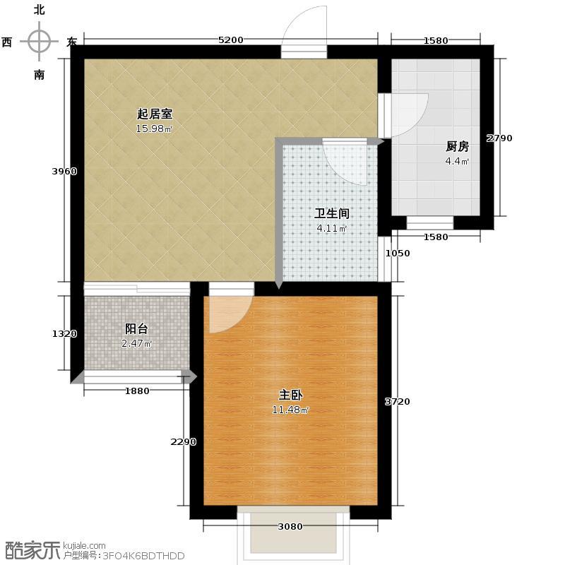 锦运名都54.18㎡二号楼1单元B1室户型1室1厅1卫