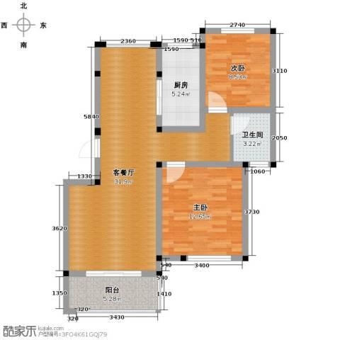 重汽翡翠东郡2室1厅1卫1厨87.00㎡户型图