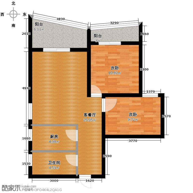 阳光100国际新城78.00㎡波普公寓D户型2室1厅1卫1厨