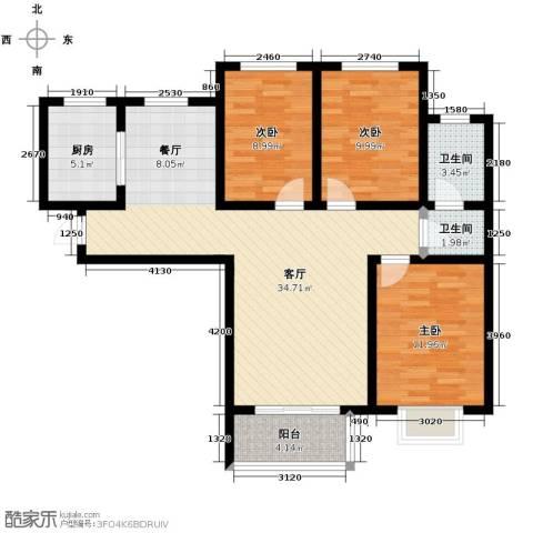 锦运名都3室2厅2卫0厨115.00㎡户型图