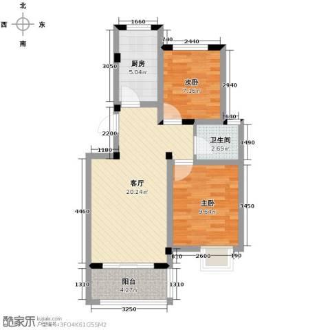 重汽翡翠东郡2室1厅1卫1厨74.00㎡户型图