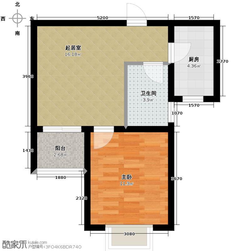 锦运名都56.84㎡二号楼2单元G1室户型1室1厅1卫