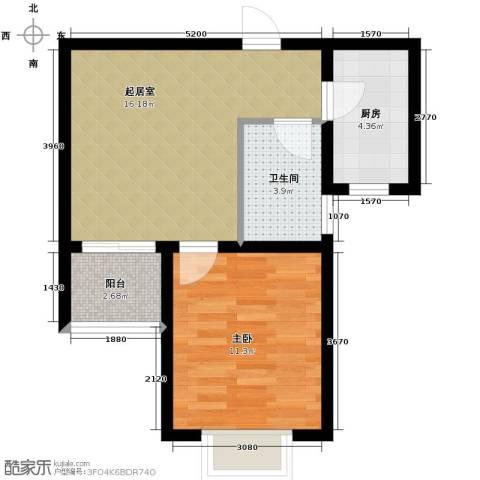 锦运名都1室1厅1卫0厨57.00㎡户型图