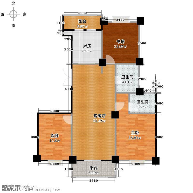 世纪花园121.00㎡户型3室1厅2卫1厨