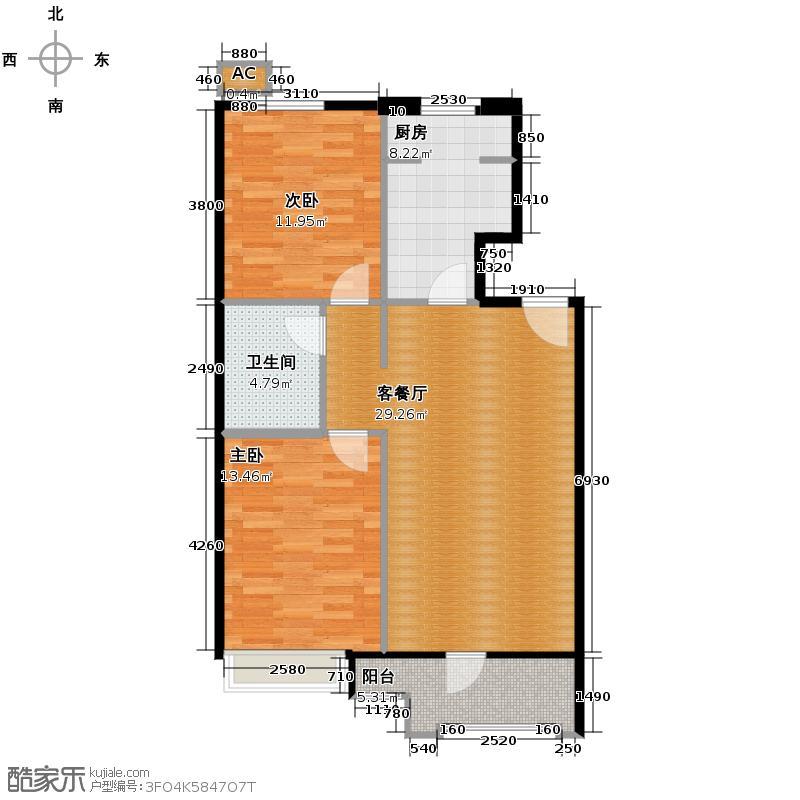 保利花园三期80.49㎡户型2室1厅1卫1厨