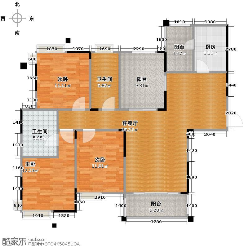 保利花园三期131.34㎡F2户型3室1厅2卫1厨