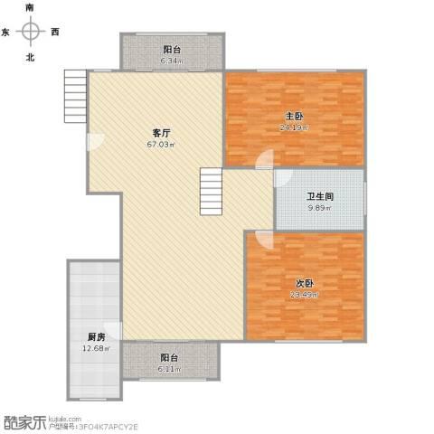 恒联新天地花园2室1厅1卫1厨197.00㎡户型图