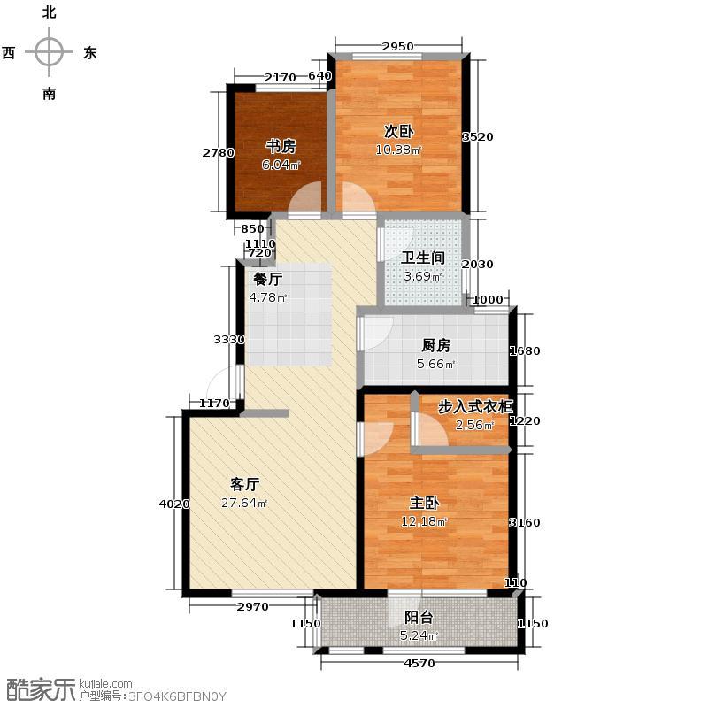 中铁丁香水岸87.00㎡洋房B户型3室2厅1卫