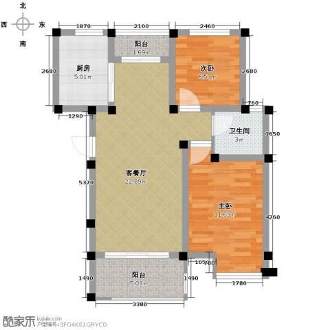 重汽翡翠东郡2室1厅1卫1厨78.00㎡户型图
