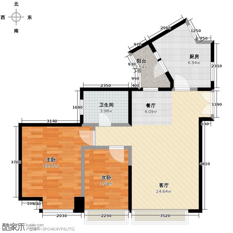 国美第一城90.04㎡四期丙一-2D户型2室1厅1卫1厨