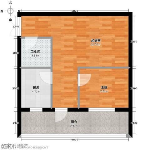 伽蓝・美城1室0厅1卫1厨69.00㎡户型图