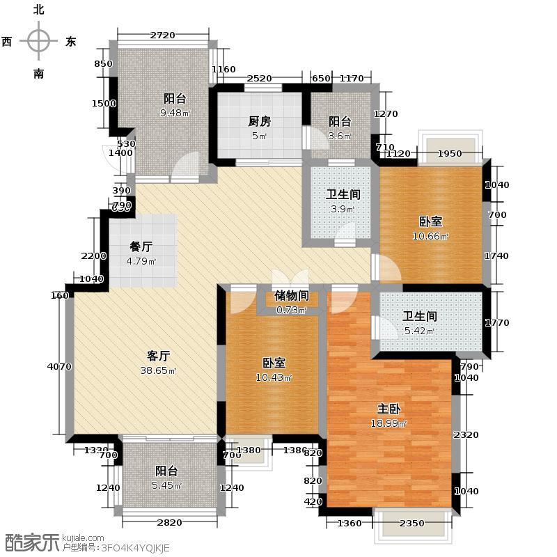 蓝谷地二期135.00㎡三期D-1型浪漫派户型1室1厅2卫1厨