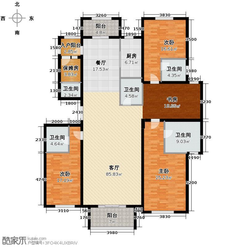 富越香溪260.00㎡小高层户型3室1厅5卫1厨