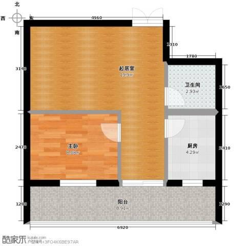 伽蓝・美城1室0厅1卫1厨63.00㎡户型图