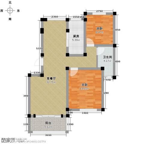 重汽翡翠东郡2室1厅1卫1厨91.00㎡户型图