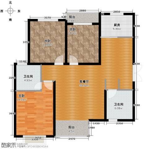 君廷上院3室1厅2卫1厨125.00㎡户型图