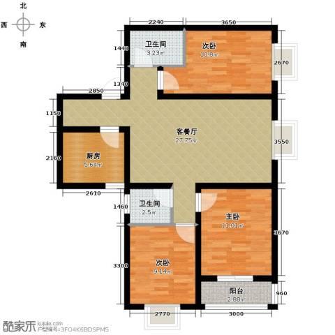 银都之星公馆3室2厅2卫0厨108.00㎡户型图
