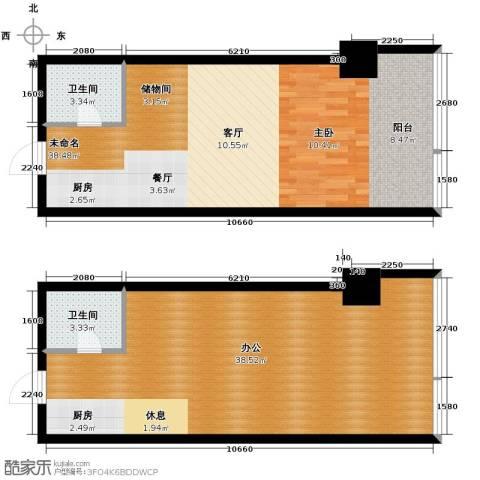 城市中坚1室1厅1卫0厨83.67㎡户型图