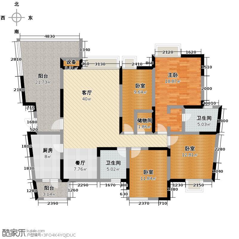 蓝谷地二期150.00㎡三期E-1型艺术派户型1室1厅2卫1厨