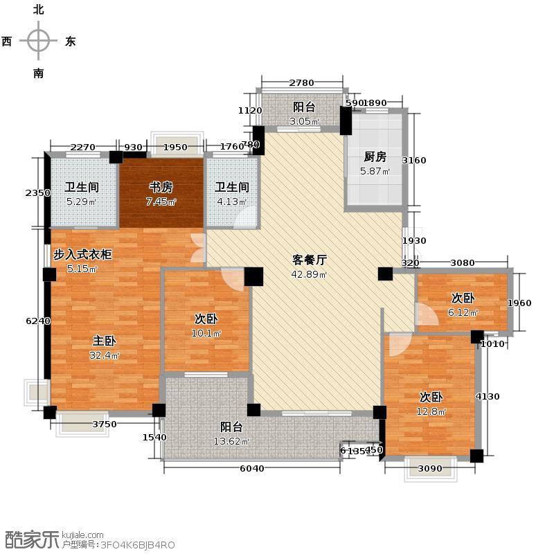世纪花园172.00㎡户型4室1厅2卫1厨