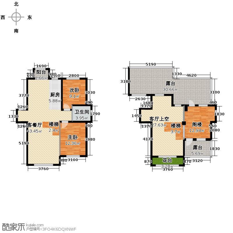 伟业星城109.00㎡三期中央街区29#、30#楼DE1户型3室2厅1卫