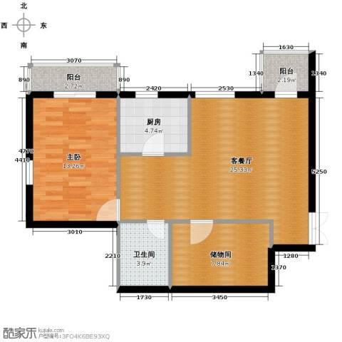 伽蓝・美城1室1厅1卫1厨84.00㎡户型图