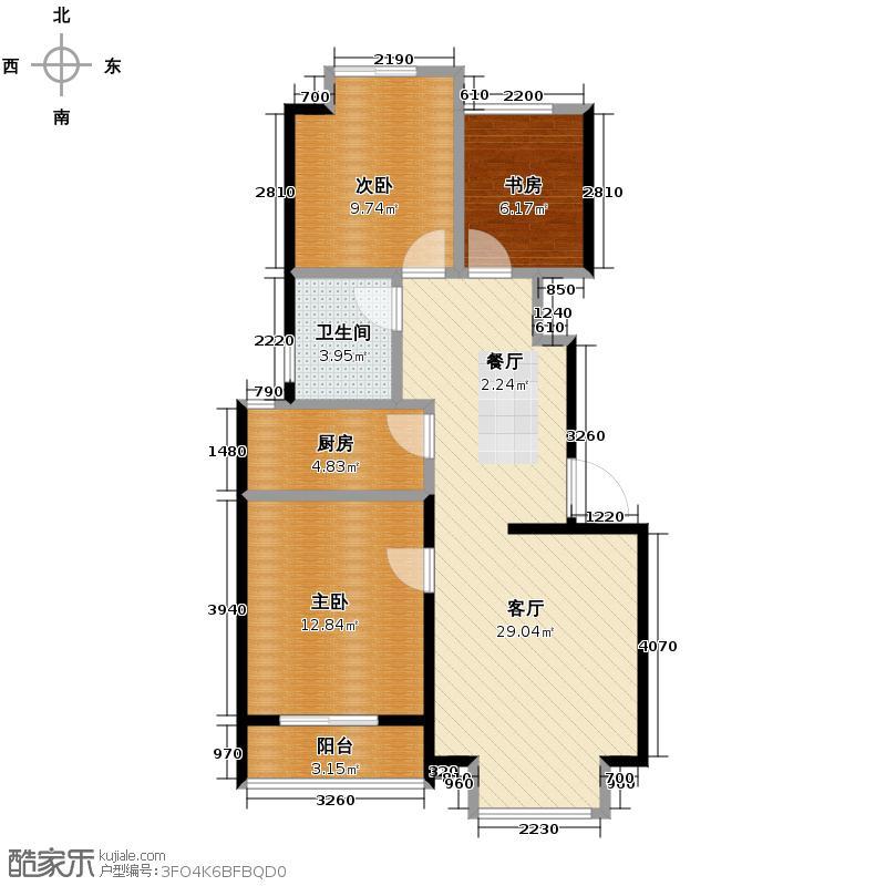 中铁丁香水岸85.00㎡洋房C户型3室2厅1卫