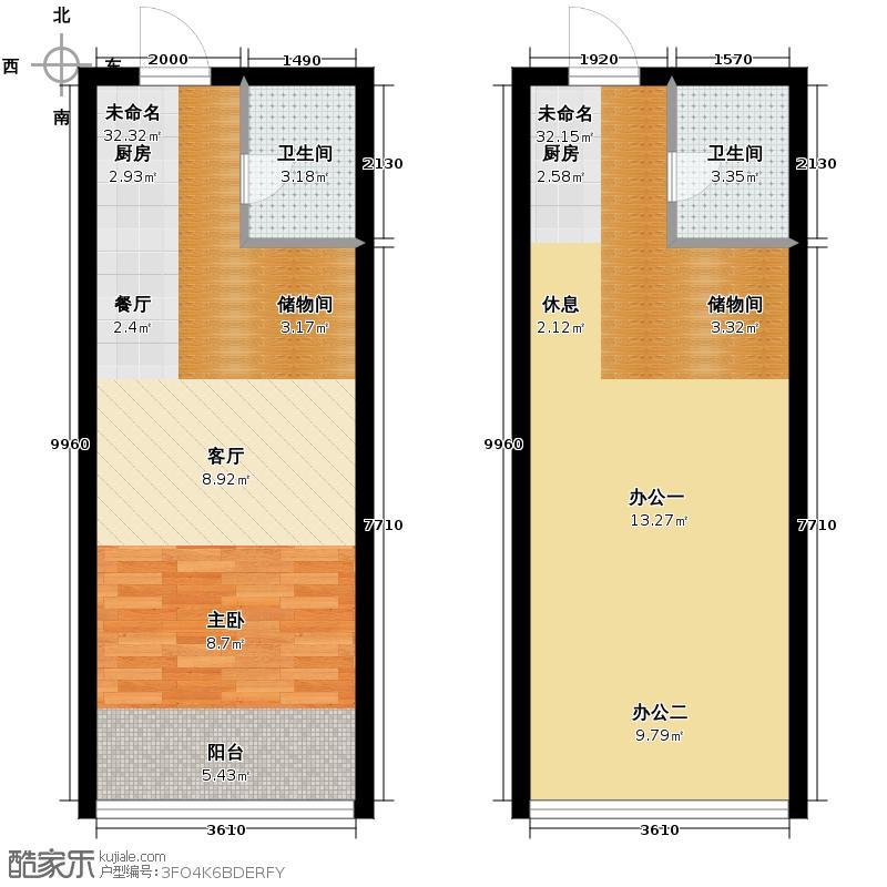 城市中坚78.54㎡D标准层平面图户型10室