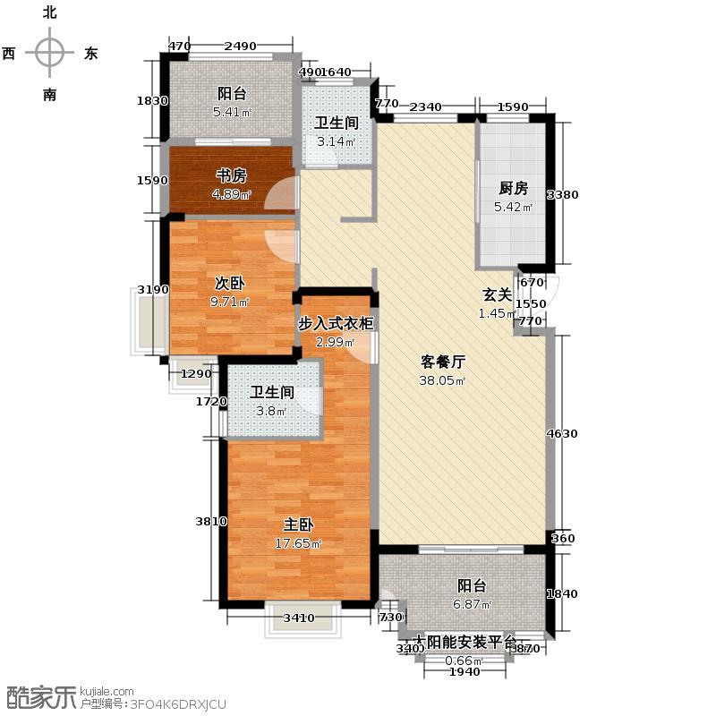旭辉御府123.00㎡戛纳公馆二期19栋D户型3室2厅2卫
