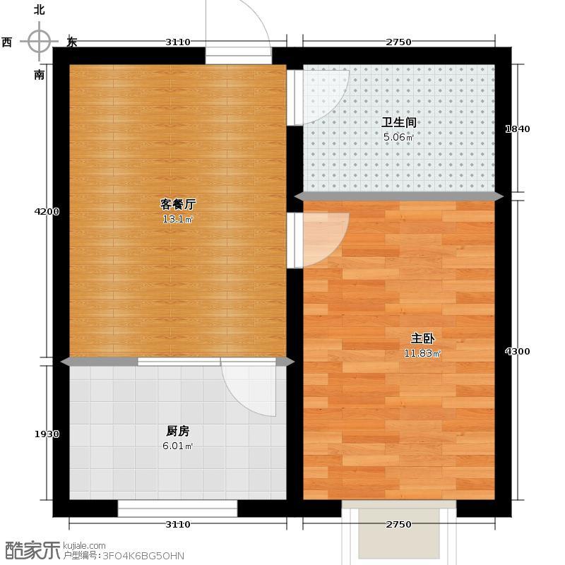 西湖俪景47.43㎡A户型1室1厅1卫