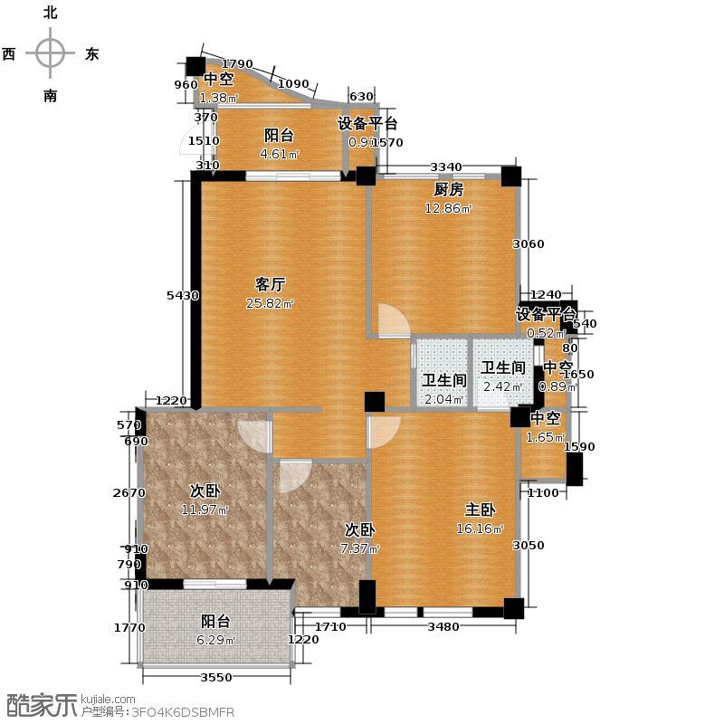 中庚帝国大苑108.00㎡1#、2#01单元户型3室2厅2卫
