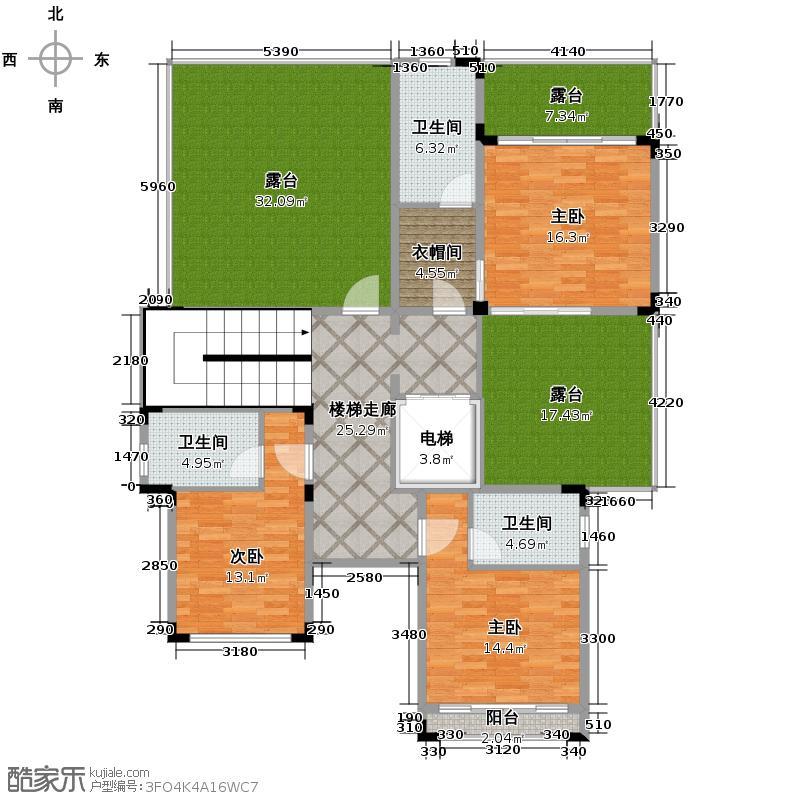 汇锦城169.45㎡氧立方森林公馆独栋别墅2层C1户型3室3卫