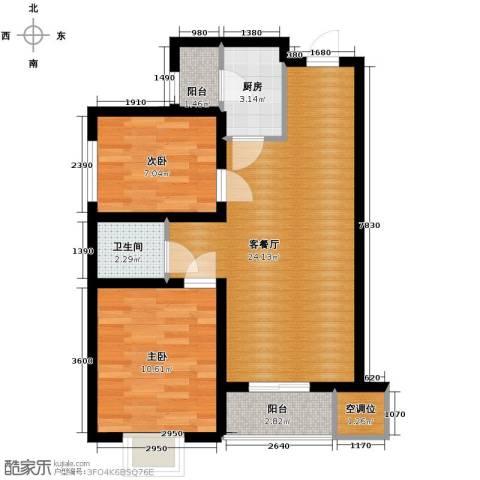 天山熙湖2室2厅1卫0厨80.00㎡户型图