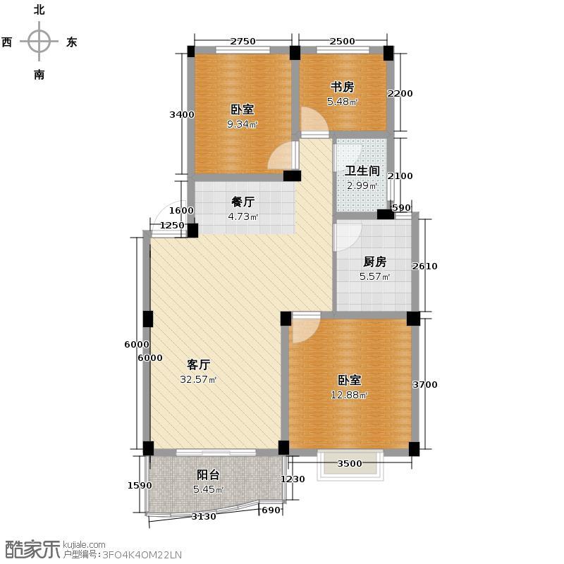 瑞泰江南88.00㎡F户型1室1厅1卫1厨