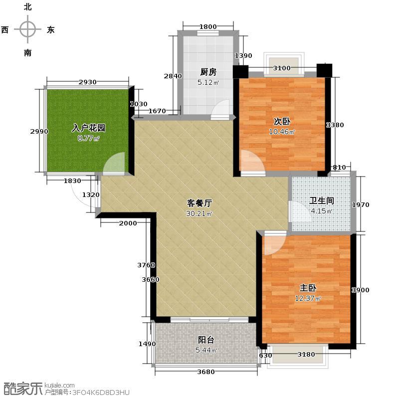 华地紫园100.00㎡户型3室2厅1卫