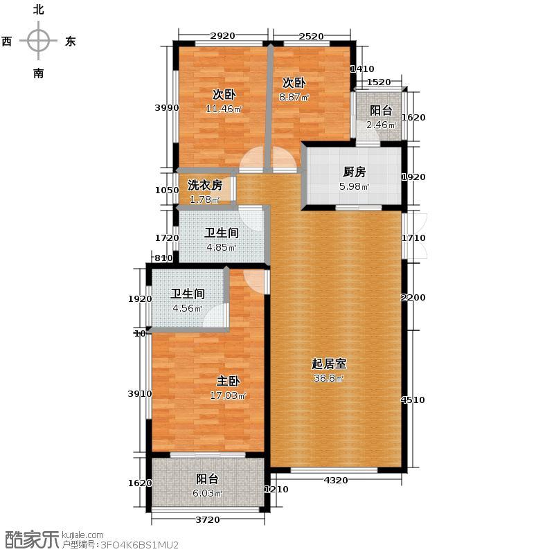 紫金东郡113.55㎡户型10室