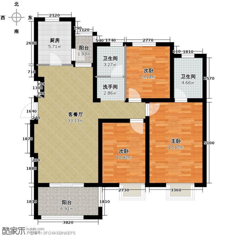 中电颐和家园120.88㎡C户型3室2厅2卫