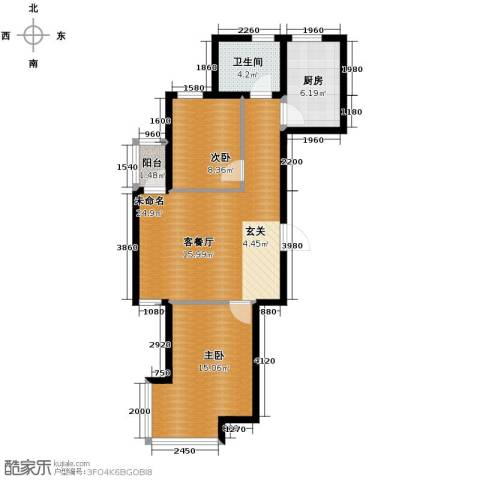 亚都名苑三期2室0厅1卫1厨84.00㎡户型图