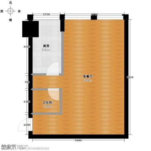 中基国际公馆1室1厅1卫0厨61.00㎡户型图