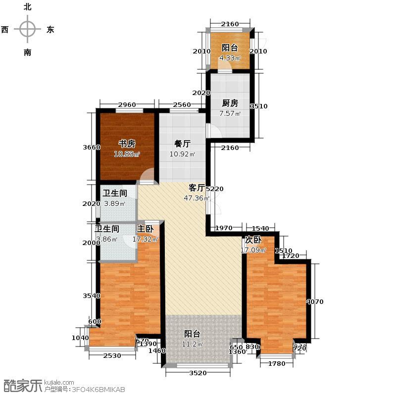 天鹅湾94.74㎡三居户型3室1厅2卫1厨