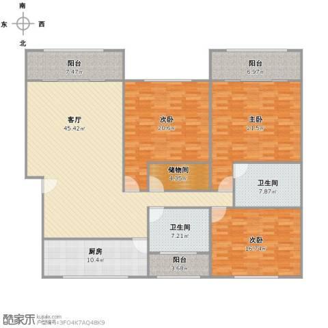 龙柏西郊公寓3室1厅2卫1厨204.00㎡户型图